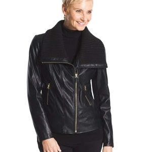 Chicos Faux Leather Sweater Trim Jacket NWT